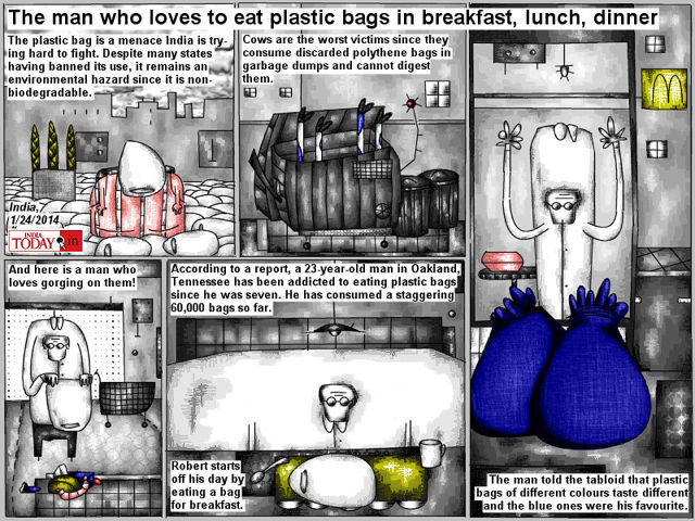 Bob Schroeder | The man who loves to eat plastic bags | in breakfast, lunch, dinner | According to a report, a 23-year-old man in Oakland Tennessee has been addicted to eating plastic bags since he was seven. He has consumed 60.000 bags so far. The man told the tabloid that plastic bags of different colours taste different and the blue ones were his favourite.