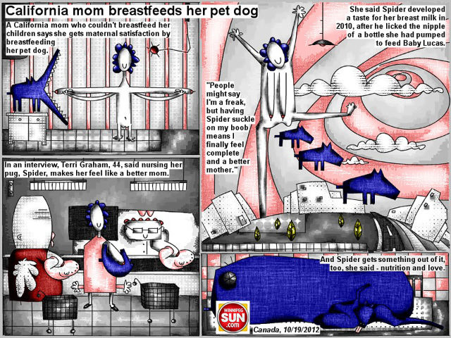 "Bob Schroeder | California mom breastfeeds her pet dog | A California mom who couldn't breastfeed her children says she gets maternal satisfaction by breastfeeding her pet dog. In an interview, Terry Graham, 44, said nursing her pug, Spider, makes her feel like a better mom. She said Spider developed a taste for her breast milk in 2010, after he licked the nipple of a bottle she had pumped to feed baby Lucas. ""People might say I'm a freak, but having Spider suckle on my boob means I finally feel complete and a better mother."" And Spider gets something out of it, too, she said – nutrition and love."